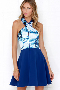 Lumier Mineral Matter Royal Blue Print Skater Dress at Lulus.com!