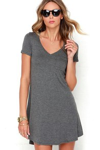 Better Together Grey Shirt Dress at Lulus.com!