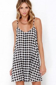 Glamorous All Righty Black and Ivory Plaid Print Dress at Lulus.com!