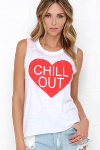 Chaser Chill Out Ivory Muscle Tee at Lulus.com!
