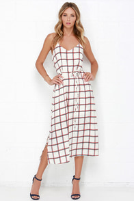 Dee Elle Plaid Attitude Cream Plaid Print Midi Dress at Lulus.com!