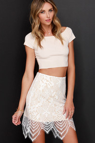Fashionably Late Beige and Ivory Lace Skirt at Lulus.com!