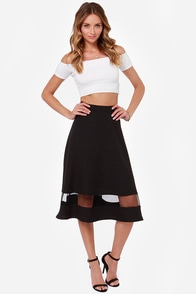 Asphalt Runway Black Midi Skirt at Lulus.com!