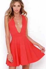 Lulus Coral Red Deep V-Neck Plunge Dress