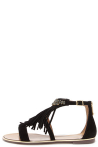 Report Signature Calin Black Suede Leather Beaded Fringe Sandals at Lulus.com!
