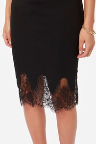 Main Attraction Black Lace Midi Skirt at Lulus.com!