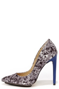 GX by Gwen Stefani Dweb Blue and Black Splatter Print Pumps at Lulus.com!