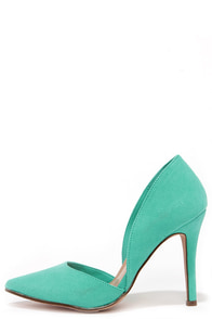 Suede to Order Aqua Green Suede D'Orsay Heels at Lulus.com!