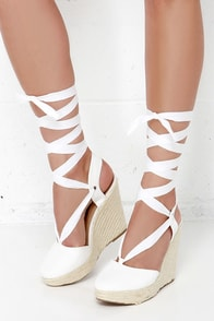 Ankles Aweigh White Espadrille Leg Wrap Wedges at Lulus.com!