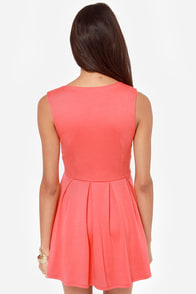 LULUS Exclusive Good Mood Coral Pink Skater Dress at Lulus.com!