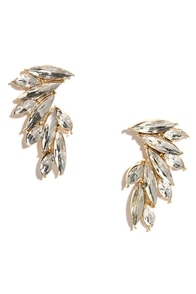 Swan Song Clear Rhinestone Earrings at Lulus.com!