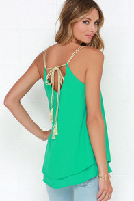 Lucky Winner Gold and Green Tank Top at Lulus.com!