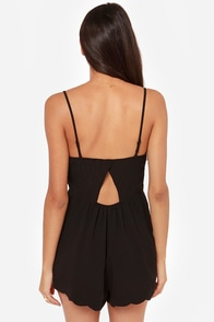 Walk This Wave Scalloped Black Romper at Lulus.com!