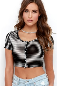 Dee Elle Sudden Smile Ivory and Black Striped Crop Top at Lulus.com!
