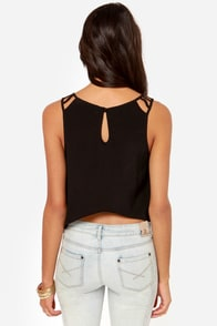All for Love Cutout Black Top at Lulus.com!