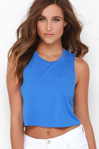 Tank-ly Speaking Blue Crop Tee at Lulus.com!