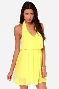 Sunshine Of Your Love Yellow Halter Dress at Lulus.com!