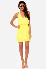 Sunshine of Your Love Yellow Halter Dress at Lulus.com!