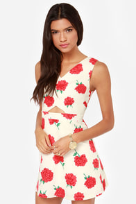 Floral Chorus Red and Cream Floral Print Dress at Lulus.com!
