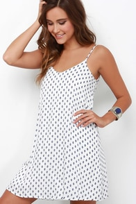 Nice and Easy Navy Blue and Ivory Print Shift Dress at Lulus.com!