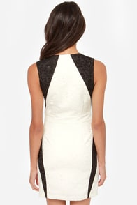 Posh Party Black and Cream Jacquard Dress at Lulus.com!