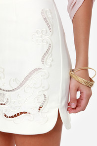 Say It Isn't Sophisticated Embroidered Ivory Skirt at Lulus.com!