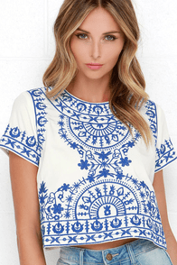 Greece Lightning Blue and Ivory Embroidered Crop Top at Lulus.com!