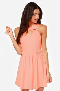 Somewhere Sunny Neon Coral Dress at Lulus.com!