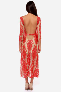 For Love & Lemons San Marcos Embroidered Red Maxi Dress at Lulus.com!