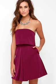 Keepsake Keep Watch Burgundy Strapless Dress at Lulus.com!
