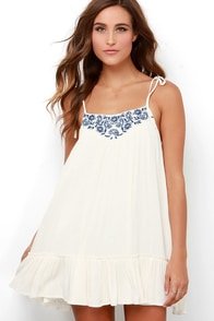 Fields and Dreams Cream Embroidered Dress at Lulus.com!