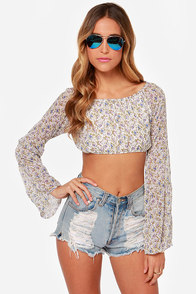 For Love & Lemons La Flor Ivory Floral Print Crop Top at Lulus.com!