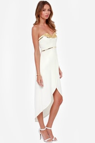 Bariano Isabel Strapless Gold and Ivory Gown at Lulus.com!