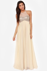 Bariano Janet Gold Sequin Maxi Dress at Lulus.com!