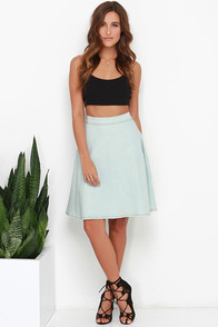 Pleased as Punch Light Wash Chambray Midi Skirt at Lulus.com!