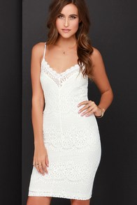 Thrills of Seville Ivory Lace Bodycon Midi Dress at Lulus.com!