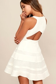 Play Nice Ivory Skater Dress at Lulus.com!