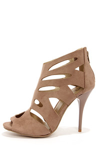 Bruno Valenti Brittney 3 Taupe Suede Cutout High Heel Booties