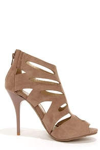Bruno Valenti Brittney 3 Taupe Suede Cutout High Heel Booties at Lulus.com!