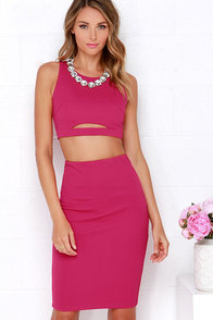 Perfect Pair Fuchsia Two-Piece Dress at Lulus.com!