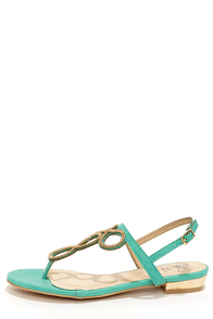 Good Choice Infinity Teal and Gold Embellished Thong Sandals