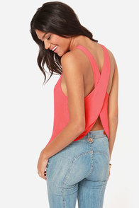 Love is Alive Coral Top at Lulus.com!