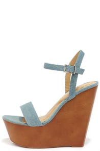 Resort Town Blue Denim Platform Wedges at Lulus.com!