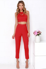 Well-Suited Red Two-Piece Set at Lulus.com!