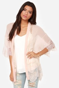 Rambling Rose Blush Lace Kimono Top at Lulus.com!
