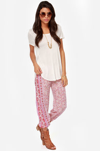 Billabong Sweet Surf Lavender Print Apartment Pants at Lulus.com!