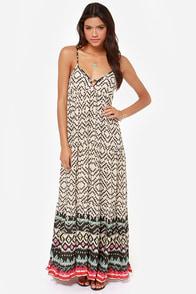 Billabong Brighter Than Black and Beige Print Maxi Dress at Lulus.com!