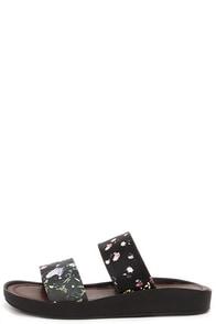 Cutie Corner Black Floral Print Slide Sandals at Lulus.com!