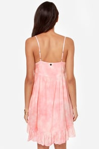 Billabong So It Goes Peach Babydoll Dress at Lulus.com!