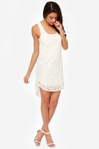 I'm Your Angel Ivory Lace Shift Dress at Lulus.com!